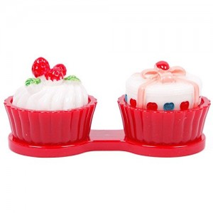 Red Cupcake Contact Lens Cleaning Case Lens Cleaner